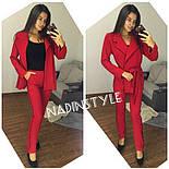 Женский стильный брючный костюм: пиджак и брюки. Черный. Красный. Бутылка.Марсала, фото 3