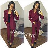 Женский стильный брючный костюм: пиджак и брюки. Черный. Красный. Бутылка.Марсала, фото 5