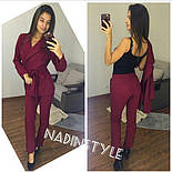 Женский стильный брючный костюм: пиджак и брюки. Черный. Красный. Бутылка.Марсала, фото 6