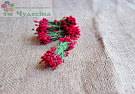 Тычинки Китайские,красные,глянцевые,на зеленой проволоке