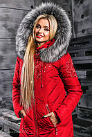 Женская зимняя куртка пальто с капюшоном красная