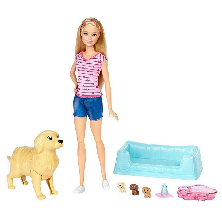 Игровой набор Barbie кукла Барби и Собака с новорожденными щенками FDD43