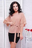 Женская бежевая блуза Louise Fashion UP 42-52 размеры