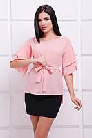 Женская персиковая блуза Louise Fashion UP 42-52 размеры
