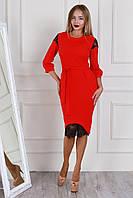 Красивое красное платье с черным кружевом