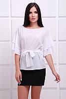 Женская белая блуза Louise Fashion UP 42-52 размеры