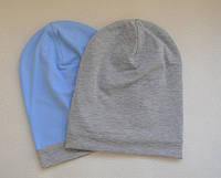 Двухсторонняя хлопковая шапочка бини. Голубой с серым меланж. 50-52, 52-54 см
