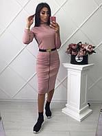 Платье-гольф расцветки фуксия в обтяжку длиною за колено