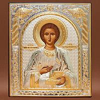 Икона Пантелеймона Silver Axion Греческая серебряная с позолотой 75 мм х 85 мм