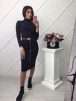 Черное платье-гольф в обтяжку длиною за колено