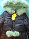Пальто детское зимнее Алсу на тинсулейте размеры 128- 158  Мята, фото 7