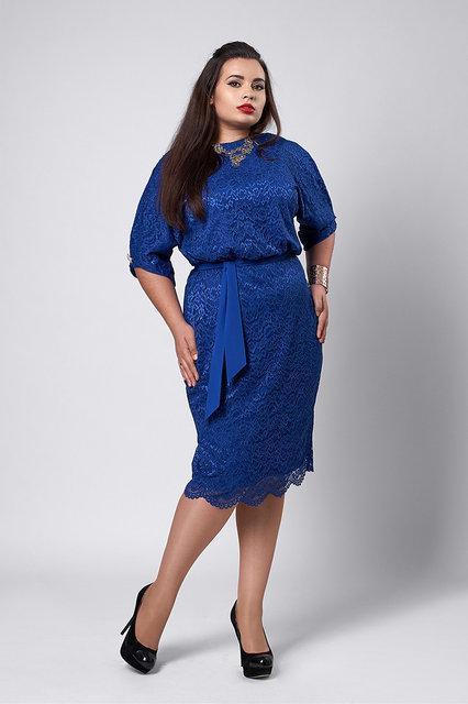 Нарядное женское платье  цвета  электрик 52-56