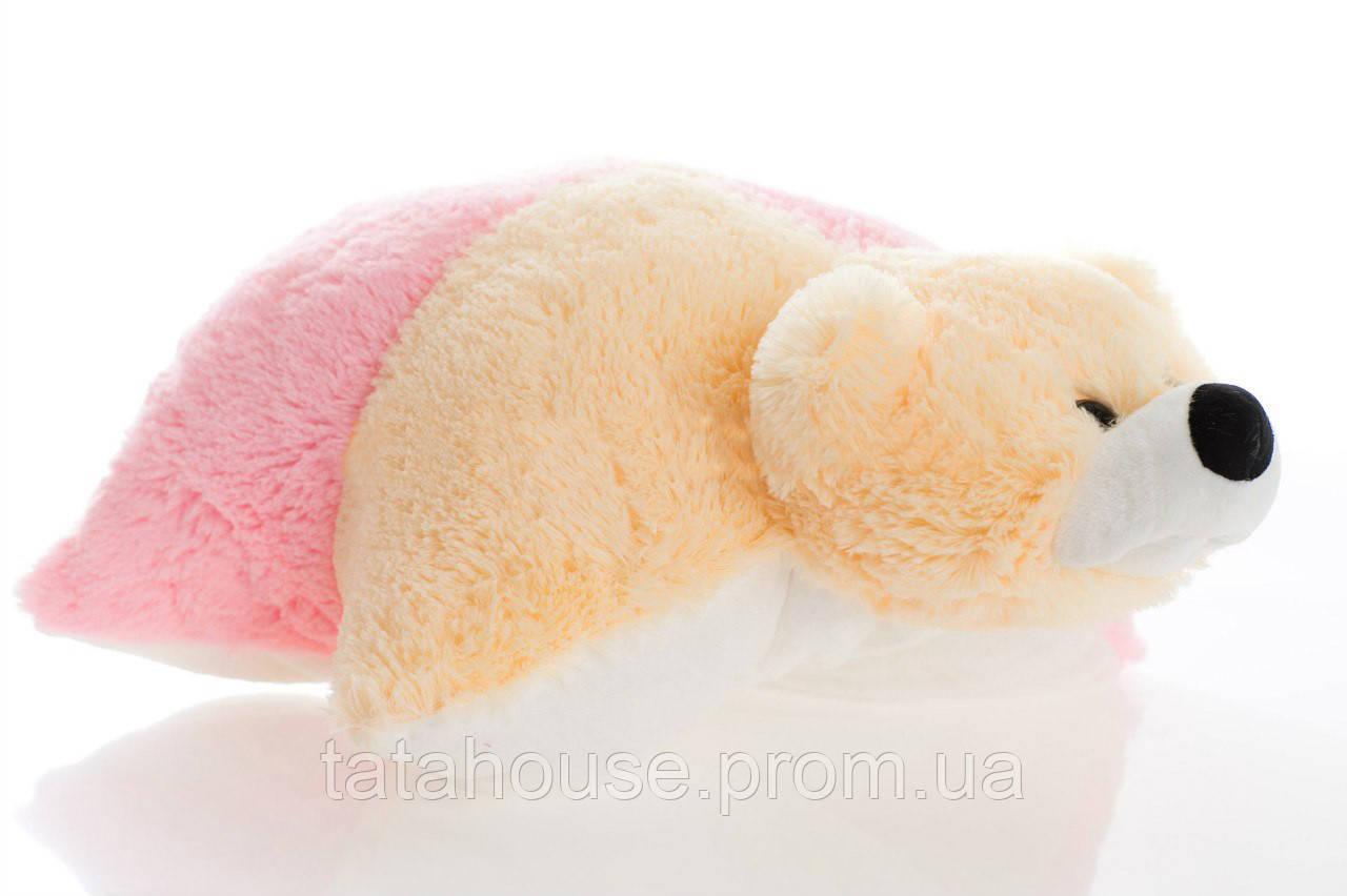 Подушка мишка 55 см(55х50х15) персиковый и розовый