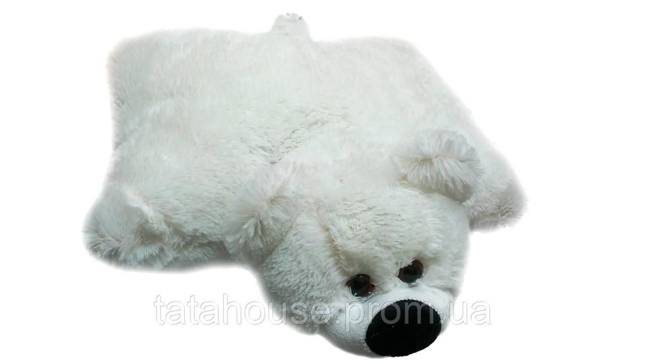 Подушка-игрушка мишка 45(45х40х12) см белая