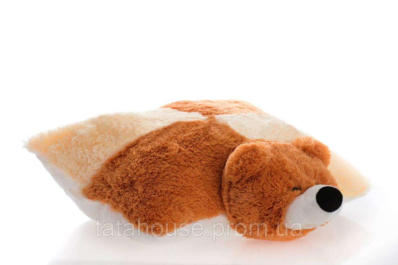 Подушка мишка 45 см(45х40х12) персиковый и коричневый