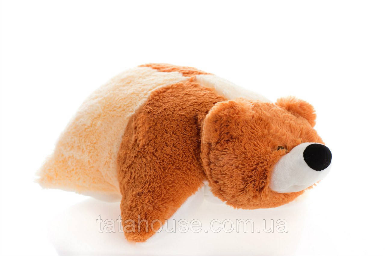 Подушка мишка 55 см(55х50х15) коричневый и персиковый