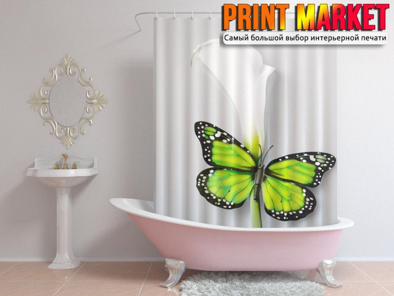 Шторы для ванной бабочка на цветке