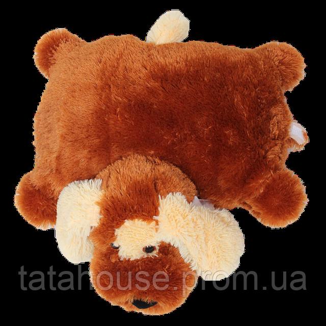 Подушка собачка Шарик 55 см(55х50х15) коричневый, фото 1