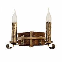 Бра из дерева светильник настенный двойной с двумя рожками свечами