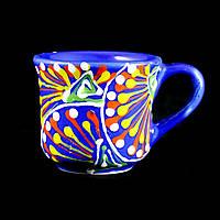 Чашка керамическая авторский дизайн ручная роспись Одуванчик синяя 100мл 9764
