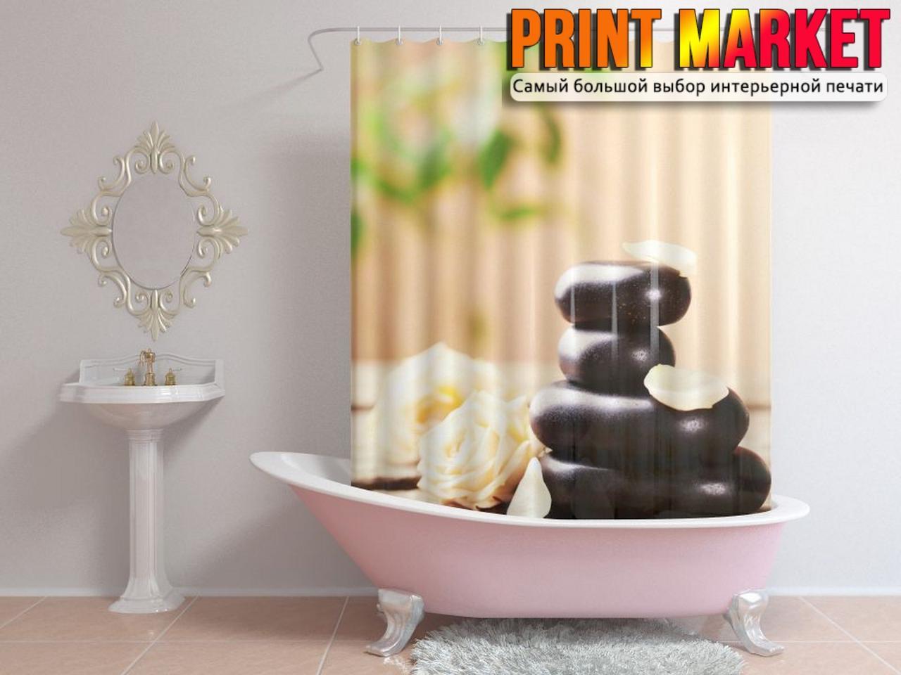 Шторы для ванной камни и розы