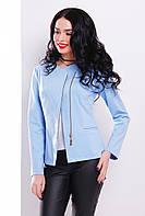 Стильный женский голубой пиджак-жакет на молнии со вставкой из экокожи