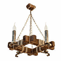 Люстра из дерева подвесная на цепях на четыре рожка-свечи
