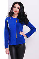 Стильный женский пиджак-жакет на молнии со вставкой из экокожи цвет электрик