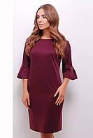 Стильное женское платье прямого кроя до колен с воланами на рукавах цвет баклажановый
