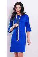 Стильное женское платье прямого кроя до колен с воланами на рукавах цвет электрик