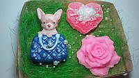 """Набор мыла ручной работы """"Чихуа-хуа,роза и сердечко"""""""