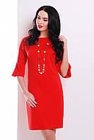 Стильное женское красное платье прямого кроя до колен с воланами на рукавах