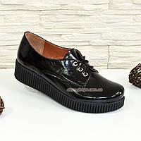 159b9e56299e Туфли черные женские на утолщенной подошве, на шнуровке, натуральная  лаковая кожа