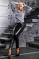 Женские леггинсы из эко-кожи и турецкого трикотажа, чёрные, размер 44, 46, 48, 50