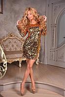 Коктейльное женское платье с пайетками, цвет - золото