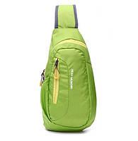 Мужской рюкзак на одно плече. Салатовый