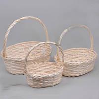 Корзины  плетенная декоративная из лозы набор 3 штуки