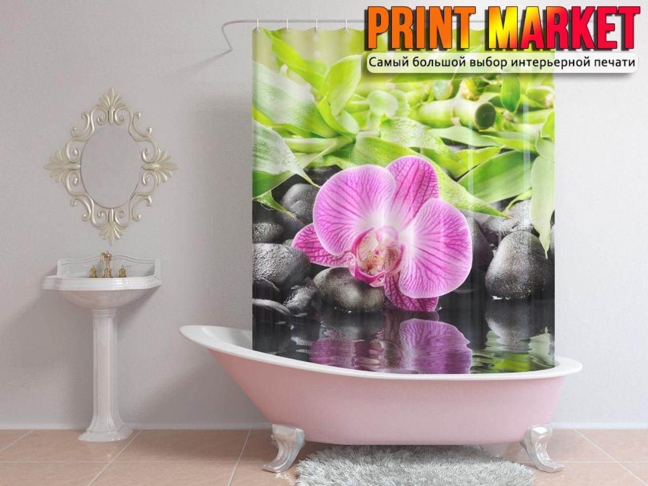Шторы для ванной розовый цветок