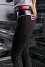 Стильные женские леггинсы из эко-кожи и турецкого трикотажа, размеры от 44 до 50, чёрные, фото 6