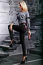 Стильные женские леггинсы из эко-кожи и турецкого трикотажа, размеры от 44 до 50, чёрные, фото 4
