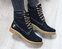 Ботинки зимние Timberland темно синие, фото 1