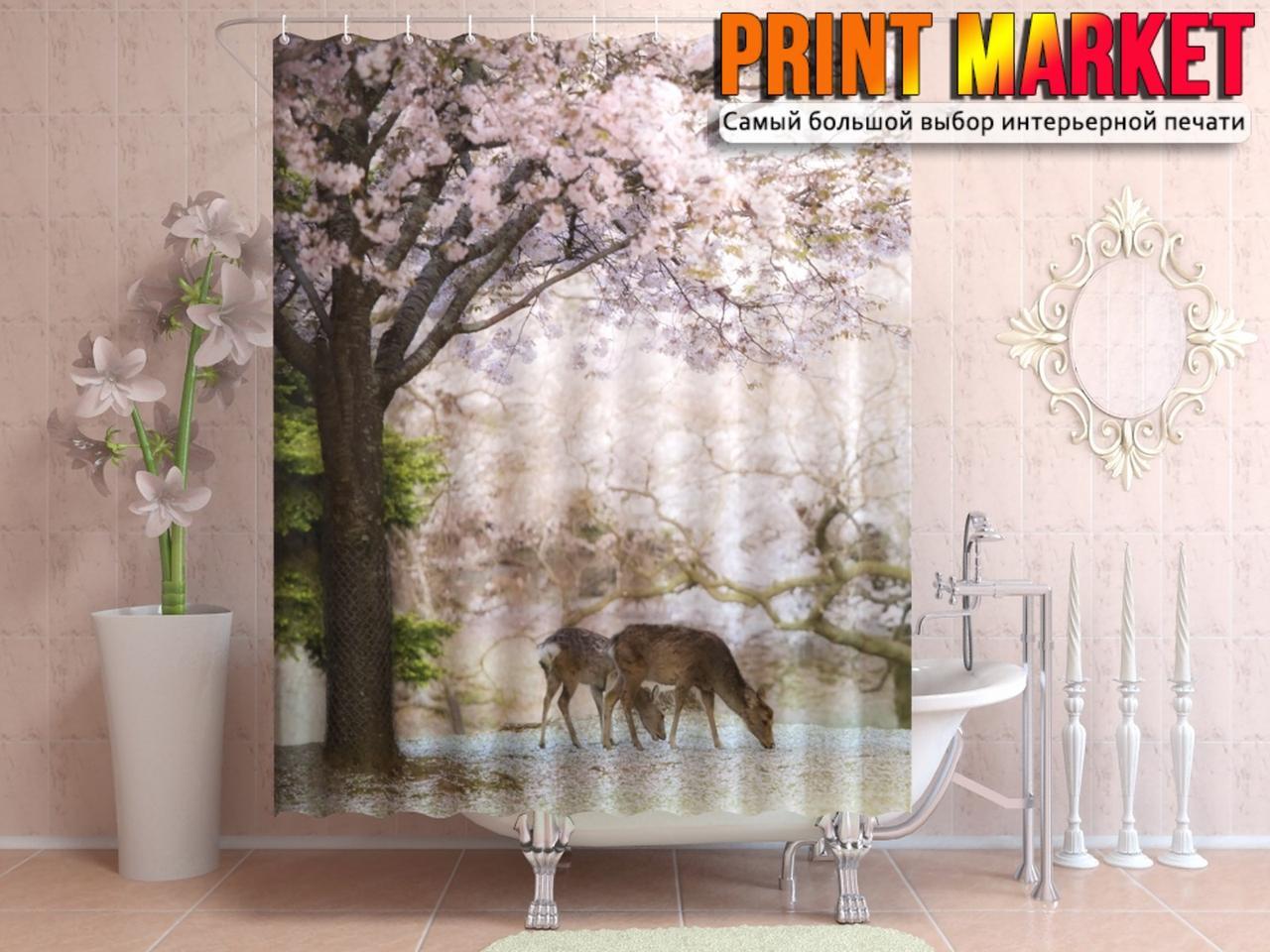 Шторы для ванной цветущее дерево