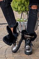 Женские зимние ботинки с отворотом на меху из натурального кролика, р.р 36