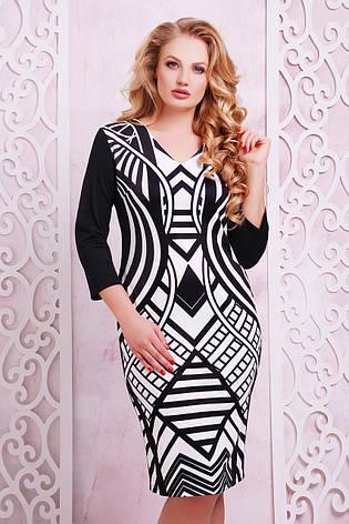 382fb0199bf159d Трикотажное черное платье по фигуре с геометрическим принтом Имитация  большие размеры, фото 2