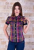 Женская офисная рубашка с коротким рукавом в цветную клетку