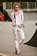 Модный велюровый женский пудровый костюм кофта-штаны Вивере