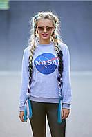 Женский модный спортивный серый свитшот спринтом Наса