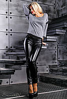 Леггинсы женские из эко-кожи и турецкого трикотажа, чёрные, размер 42, 44, 46, 48