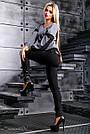 Женские леггинсы из трикотажа-дайвинг, размеры от 44 до 50, со вставками из эко-кожи с вышивкой, фото 2