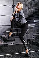 Женские леггинсы из трикотажа-дайвинг, со вставками из эко-кожи с вышивкой, размер 44, 46, 48, 50